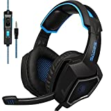 [2018 Newest updately] sades sa920 Wired Stereo Gaming Headset Over Ear Headphones with Microphone for New Xbox one / ps4 / pc/Cell Phones- Black/Blue
