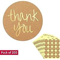 4cm Oro Circulo Gracias (Thank You) Kraft Pegatinas - 200 Etiquetas