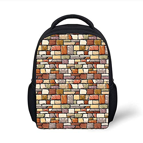 Kids School Backpack Grunge,Cartoon Wall Pattern with Stone Motifs Construction Architecture Inspired Design Decorative,Multicolor Plain Bookbag Travel Daypack -