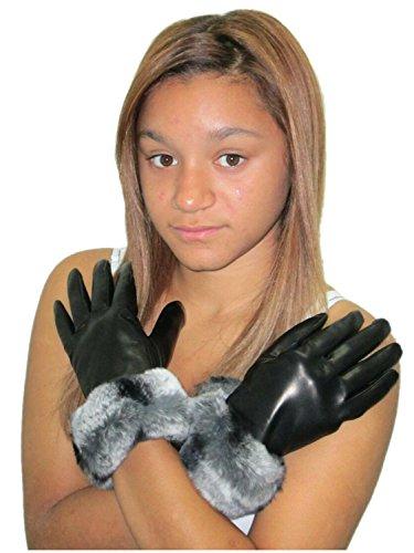 FursNewYork Kaschmir-Futter, Leder, mit Lammfell Handgelenk Länge Handschuhe w/REX Chinchilla Bündchen -