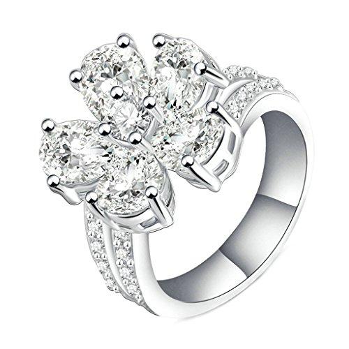 Daesar Vergoldet Ring Damen Eheringe Silber Zirkonia Ring Blume Zirkonia Ring für Damen Größe:60 (19.1)