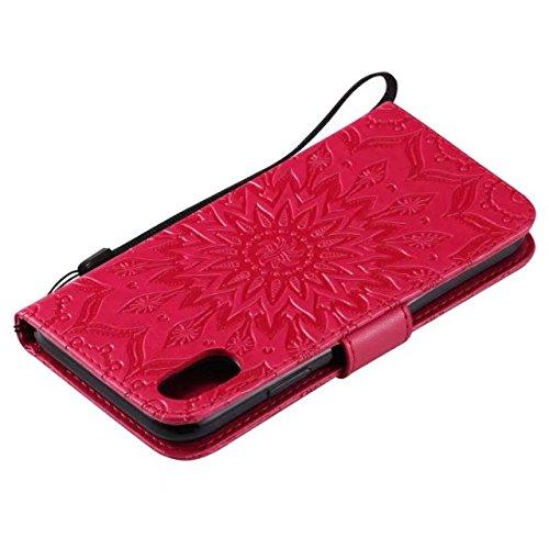 EKINHUI Case Cover Doppelseitig geprägtes Sonnenblumenmuster Premium PU Ledertasche mit Kartenschlitze und Lanyard für iPhone X ( Color : Gray ) Red