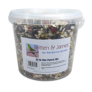 Britten & James Best All In One Parrot Mix from 5 litre stay fresh tub. This superb mix has been created with no expense spared to be the very best balanced all in one food for your parrot.