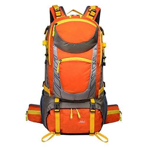 Große 50 Liter Reise Wandern Camping Rucksack Rucksack Urlaub Gepäck Tasche,Orange Orange