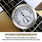 Violin Thermometer Hygrometer, Round Humidity Temperature Meter for Guitar Case Instrument Care (Silver)