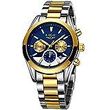 Herrenuhren Luxusmarke LIGE Edelstahl Gesch?ftsuhr M?nner Wasserdicht Leucht Sport Analog Quarz Armbanduhr Mann Gold Blau Uhr