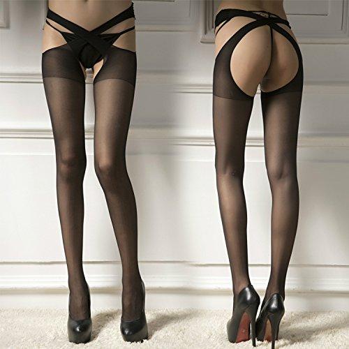 Hohe Knie Damen Kostüme (Upper-Langer Zylinder sexy Dessous Kaidang sexy Damen strumpfhose Kreuz Taille hoch Socken Strümpfe frei von Leckagen von Ass, Fleisch)