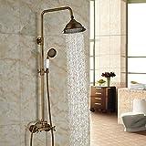 Latón Rozinsanitary 20,32 cm grifo ducha utensilios de latón envejecido para bañera y ducha grifo mezclador Bimando para asas