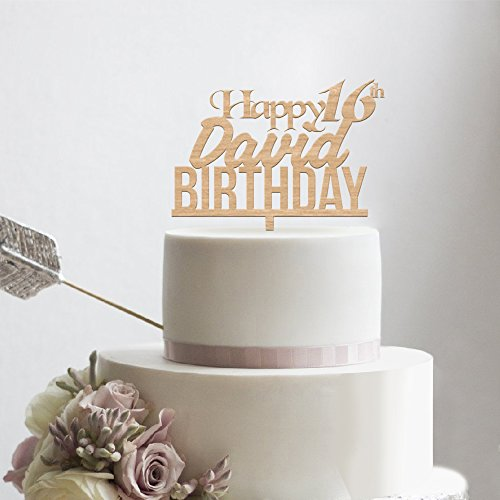 kiskistonite Holz Happy Birthday Kuchen Topper - Happy 16. Geburtstag für Jungen Teenager Name angepasst - Rustikal Gastgeschenken Party Dekorieren Supplies (Junge Royal Party Supplies)