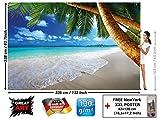 Photo papier peint de plage décoration de peinture murale de plage de rêve des Caraïbes nature de la baie de Paradis île de palme tropicale affiche de photos de décoration murale GREAT ART (336x238cm)