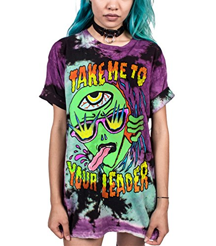 Ocean Plus Unisex 3D Druck Graffiti Alien T-Shirt Loose Fit Wild Verrückt Wahnsinn Tee Shirt Tops (S/M, 007 Take Me to Your Leader)