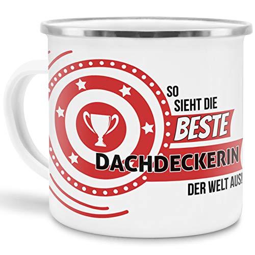 Emaille-Tasse mit SpruchSo Sieht Dachdeckerin der Welt aus - Beruf/Arbeit / Hobby/Edelstahl-Becher/Metall-Tasse/Kollegin