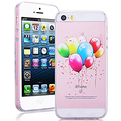 SmartLegend Coque iPhone SE , Soft Crystal Clair Motif Mignon Painting Coque Etui Housse Apple iPhone SE iPhone 5 iPhone 5S Rubber Bumper Ultra Thin Transparent Protection Extrêmement Mince Légère Cover -Colorful