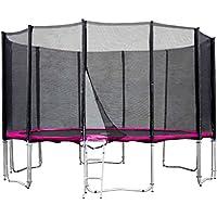 Gartentrampolin Trampolin 396 bis 400 cm in pink mit Sicherheitsnetz und Einstiegsleiter