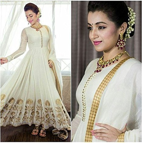Apnisha Women\'s Georgette Semi-Stitched Anarkali Suit (APLE_BT_White_White)