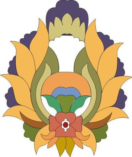 indigos-ug-mf250-tatuaggio-murale-ornamento-bel-fiore-fioritura-delle-piante-viticcio-tribal-multico