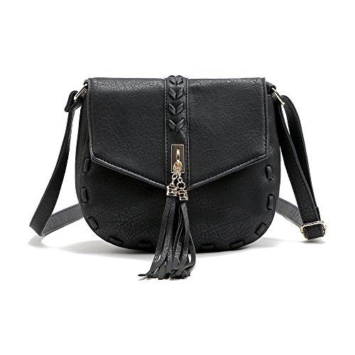 Mefly Borsa a tracolla nuove borse di fascia alta rosso marrone black