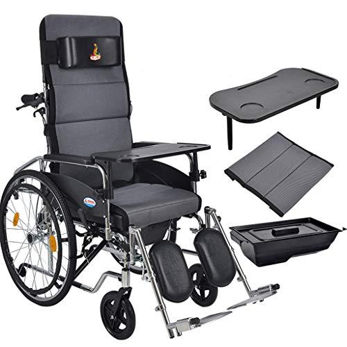 Rollstuhl Seite Tasche (Bestting Manueller Rollstuhl, zusammenklappbarer tragbarer Gurt-Toiletten-Multifunktions-älterer tragbarer Rollstuhl,Gray)