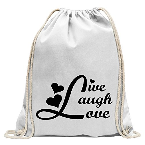 4c92fd1b115c2 KIWISTAR - live laugh love Turnbeutel Fun Rucksack Sport Beutel Gymsack  Baumwolle mit Ziehgurt Weiß