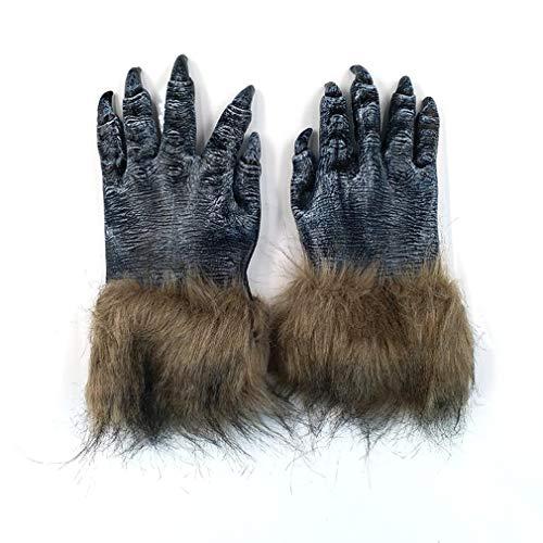 AND Halloween Tier Maske voller Gesicht Wolf-Headed Wolf Handschuh Set Kinder Erwachsene Latex Tier Kopf Set Horror