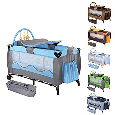 Travel Cot | 126/66/82cm, Foldable, with Changing Matt, Padded Borders, Carry Bag, Rounded Edges, 6 Designs | Travel Bed for Children, Bedside Cot, Folding Bassinet, Bed Play Pen