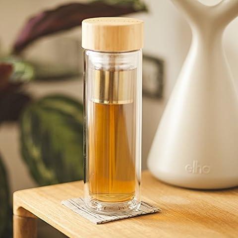 Monsuri 450ml doppelwandige infuser Trinkflasche glas für Tee Aufguss und Frucht infundiert Wasser mit einem Bambusholz-Deckel, einer Neopren Schutzhülle und einem einzigartigen, trennbaren 2 in 1 Edelstahl-Sieb. Tragbare, kompakte und wiederbefüllbare Isolierflasche, Teebereiter to go, Thermobecher mit teesieb, Infusion Bottle, groß tee-glas, Teekanne für losen Blatt-Tee, Früchtetee, ätherisches Öl, Eistee, Kaffee, einen Smoothie, oder eine Detox-Diät