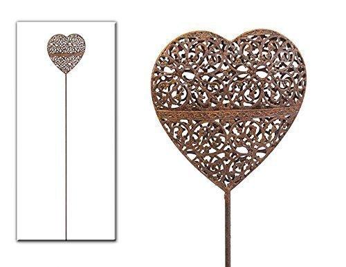 Gartenstecker Metall mit Herzen