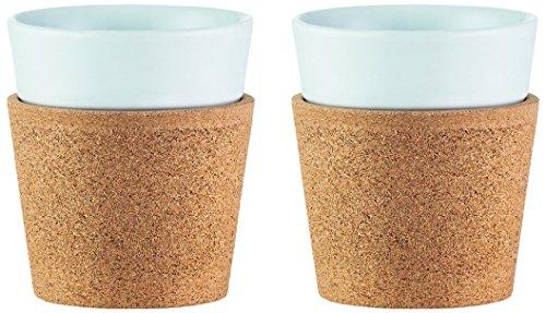 Bodum Bistro Tassen-Set 2 Stück, Porzellan, Kork/weiß, 7.4 cm, 2-Einheiten