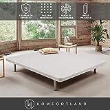 Komfortland Base tapizada 3D One Medida 150x190 cm Color Blanco (Patas 25 cm - Normales de Regalo)