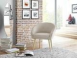 lifestyle4living Loungestuhl in Beige mit Bezug aus Webstoff | Stuhl hat Holzfüße