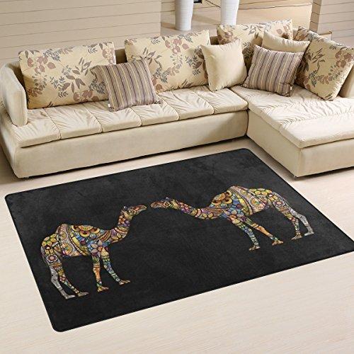 yibaihe, leicht, bedruckt mit Tier-Deko-Teppich, Teppich, modern Camel Ethno-Muster mit wasserabweisend robust für Wohnzimmer Schlafzimmer, 153 x 100 cm -