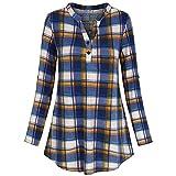 Tops SANFASHION Damen Blusen Split V-Ausschnitt Langarm Casual Roll-up Plaid Tunika T Shirt Streetwear