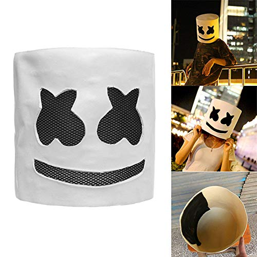 DJ Marshmello Maske Ostern Party Nachtclub Latex Cosplay Helm, Musik DJ Maske Party Requisiten Volle Kopfmaske Halloween Cosplay ()
