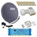 FUBA 12 TEILNEHMER DIGITAL SAT ANLAGE DAA850A + Opticum LNB 0,1dB FULL HDTV 4K + PMSE Multischalter 5/12 + 35 Vergoldete F-Stecker Gratis dazu
