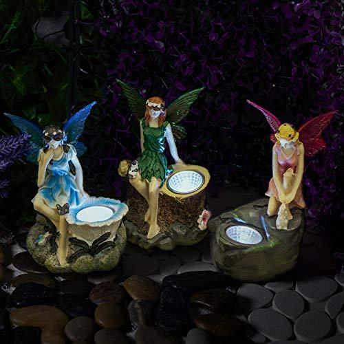 GloBrite Confezione da 3 statuette da giardino con faretti solari per esterni