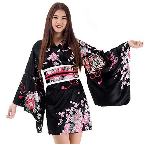 (Kurzer Japanischer Geisha Kimono Kakitsubato Schwarz Satin One Size)