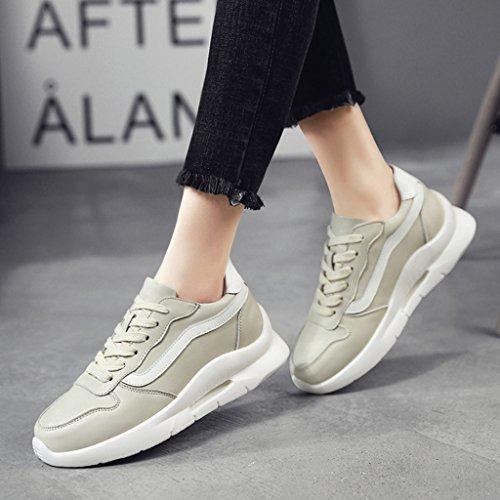 Hwf Chaussures Pour Femmes Chaussures De Sport Chaussures Pour Femmes Fond Épais Chaussures Décontractées Femme (couleur: Noir, Taille: 39) Beige