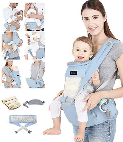 Azeekoom Babytrage Ergonomische, Kindertrage mit Hüftsitz, Befestigungsgürtel, Lätzchen, Schultergurt, Kopfbedeckung für Neugeborene bis Kinder von 0 bis 36 Monaten (Hellblau)