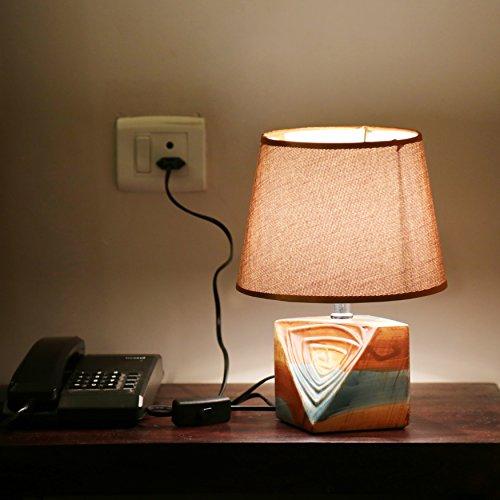 Kurtzy Wooden Modern luxurious Table Desk Lamp Beautiful art Decor light for...