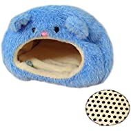 Emours Rats Hamster Winter Warm Fleece Hanging Cage Hammock Cute Bear House with Bed Mat,Blue