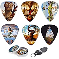 Unique Plettri Per Chitarra Premium Gift Set Of 12 Picks With Stunning Surreal Artwork Inspired By Salvador Dali, Complete W/ Tin Box, Leather Keychain Pick Holder| Best Guitar Player Gift