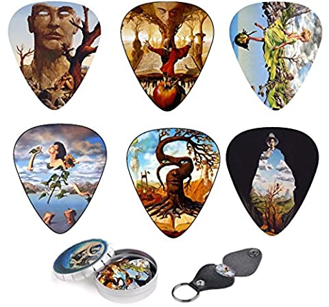 Unique Guitar Picks Premium Gift Set Of 12 Picks With Stunning Surreal Artwork Inspired By Salvador Dali, Complete W/ Tin Box, Leather Keychain Pick Holder| Best Valentine's Day Guitar Player Gift - Holder Keychain