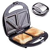Sandwich Maker Breakfast Sandwich Toaster für 2 American Toasts | Antihaftbeschichtung Heizplatten | 750 Watt | Thermostat (Edelstahl)