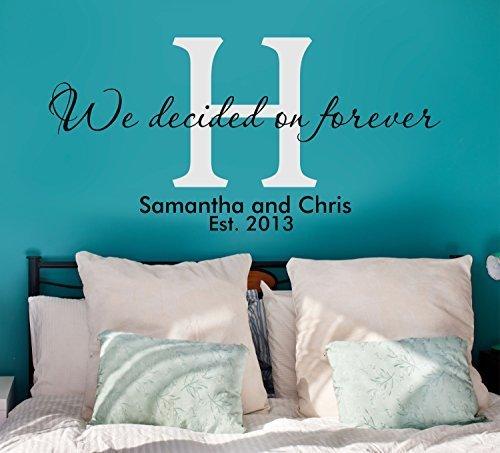 Abbiamo deciso su Forever Quote Couple iniziale nome est. Decalcomania da parete in vinile Data, 37