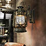 Baredury Vintage Antique Bar Cafe Tè Scala Pensile Corsia Lampada Creativo Kerosene Lampada Lanterna,Bronzo
