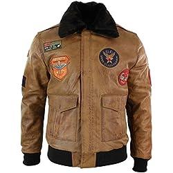 uclass Blouson Homme Cuir véritable Style Air Force aviateur Bomber Marron Clair Vintage avec Badges rétro