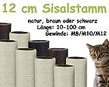 Kratzbaumland 12 cm Sisalstamm, Ersatzstamm für Kratzbaum: Länge: 40 cm, Gewinde - 10 mm (M10), Farbe des Sisalseils - Natur
