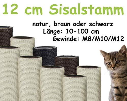 kratzbaumland 12 cm Sisalstamm, Ersatzstamm für Kratzbaum: Länge: 25 cm, Gewinde - 10 mm (M10), Farbe des Sisalseils - Natur