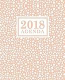 Agenda: 2018 Agenda Semainier : 19x23cm : Blanc cassé sur rose pâle
