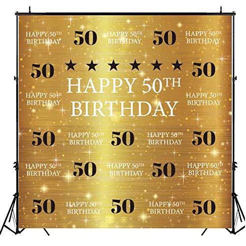 Funnytree Fotohintergrund zum 50. Geburtstag, 15,2 x 1,83 m, Goldener Glitzer Hintergrund zum 50. Geburtstag, Party-Dekoration, Fotobanner, Requisiten (Dekorationen Bday 50)